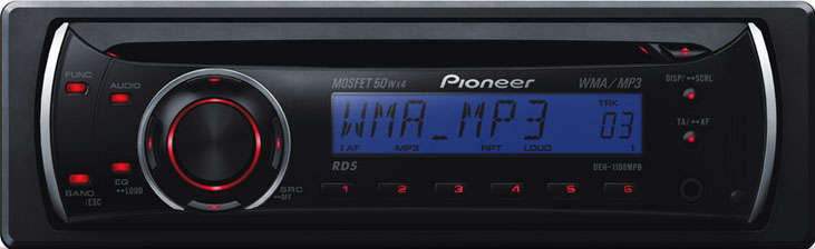 DEH-1100MPB PIONEER MP3  Aux.1 RCA (Red- Blue LCD)