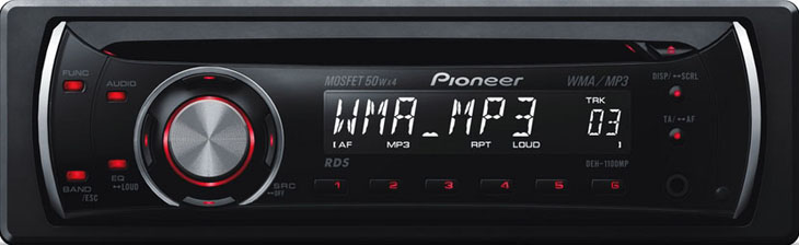 DEH-1100MP PIONEER MP3  Aux.1 RCA (Red)