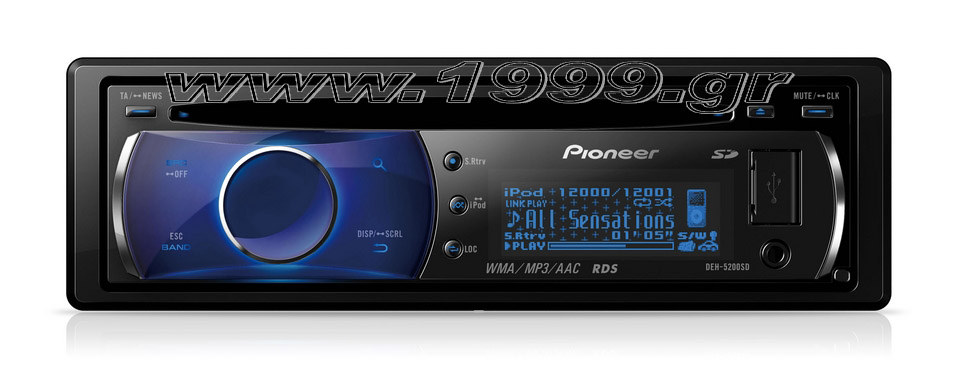 DEH-5200SD CD Tuner with iPod Control, Front USB,